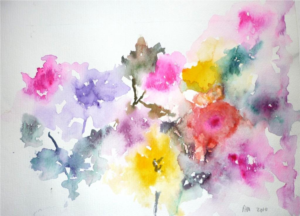 Aquarelle en libert nature morte for Aquarelle fleurs