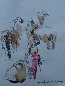 les enfants et les lamas