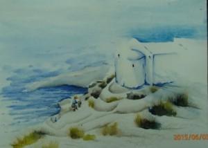 essais de chapelle au dessus d'Oia